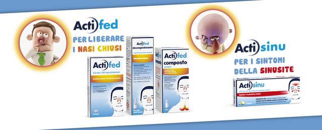 Actifed per liberare i nasi chiusi. Actisinu per i sintomi della sinusite